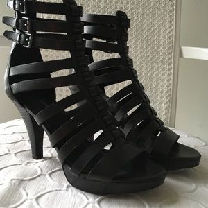 Via Spiga Black Leather Gladiator Heels